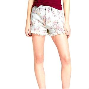 Mossimo Floral Print High-Rise Frayed Jean Shorts